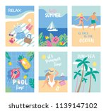 set of summer cards in cartoon... | Shutterstock .eps vector #1139147102