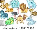 cartoon cute african animals ... | Shutterstock .eps vector #1139162936