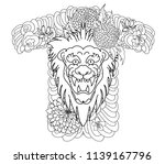 chinese lion with humming bird... | Shutterstock .eps vector #1139167796