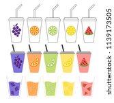 fruit juice three different cup ... | Shutterstock .eps vector #1139173505
