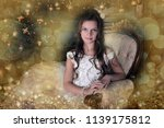 young princess in white dress... | Shutterstock . vector #1139175812