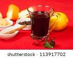 hot wine  german gluehwein  and ... | Shutterstock . vector #113917702