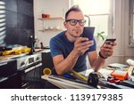 men shopping construction... | Shutterstock . vector #1139179385