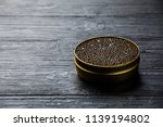 black caviar in can on black... | Shutterstock . vector #1139194802