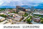 Drone aerial panorama of downtown Columbia South Carolina SC.