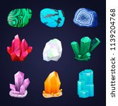 crystal vector set. crystalline ... | Shutterstock .eps vector #1139204768