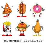 set of junk food cartoon... | Shutterstock .eps vector #1139217638