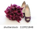 Wedding Shoes And Bouquet Of...