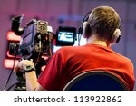 professional cameraman with... | Shutterstock . vector #113922862