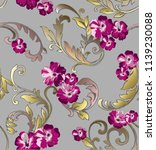 baroque pattern with  plant... | Shutterstock .eps vector #1139230088