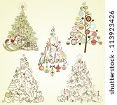 christmas tree collection.... | Shutterstock .eps vector #113923426