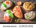 top view of healthy mix of... | Shutterstock . vector #1139251502