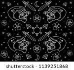 set design tattoo black panther ... | Shutterstock .eps vector #1139251868
