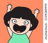joyful woman with curly short... | Shutterstock .eps vector #1139280995