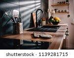 modern kitchen with black sink... | Shutterstock . vector #1139281715