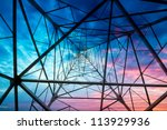 high voltage post.high voltage... | Shutterstock . vector #113929936