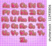 alphabet pink baby print ... | Shutterstock .eps vector #113930806