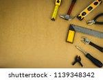 mechanic tools set on brown...   Shutterstock . vector #1139348342