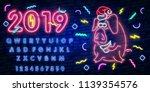 neon pig. symbol of 2019 year.... | Shutterstock .eps vector #1139354576