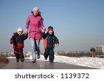 Mother With Children Runnig