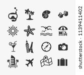 vacation icons set. vector... | Shutterstock .eps vector #1139411402
