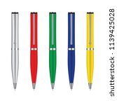 colored set of pens isolated on ... | Shutterstock .eps vector #1139425028