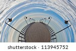 Pier fisheye - a vision of humorous. - stock photo