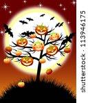 halloween pumpkins tree on... | Shutterstock .eps vector #113946175