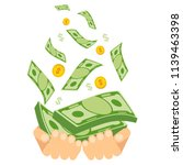 hand holding money. coins and... | Shutterstock .eps vector #1139463398