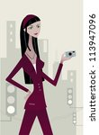 a woman in burgundy suit... | Shutterstock . vector #113947096