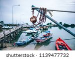 old rusty pulley system hanging ... | Shutterstock . vector #1139477732