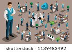 isometry set  bank icons with...   Shutterstock .eps vector #1139483492