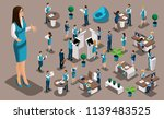 isometric set  bank icons with... | Shutterstock .eps vector #1139483525