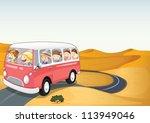 illustration of bus in a desert | Shutterstock .eps vector #113949046