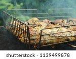preparation of a shish kebab... | Shutterstock . vector #1139499878