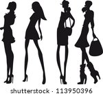 silhouette fashion girls | Shutterstock .eps vector #113950396