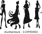 silhouette fashion girls | Shutterstock .eps vector #113950402