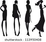 silhouette fashion girls | Shutterstock .eps vector #113950408
