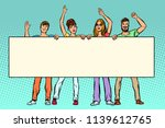 group of people with banner.... | Shutterstock .eps vector #1139612765