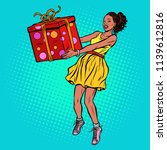 african woman with gift box.... | Shutterstock .eps vector #1139612816