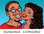african couple kissing  smiling.... | Shutterstock .eps vector #1139612822