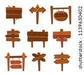 cartoon wooden arrows. vintage... | Shutterstock .eps vector #1139630402