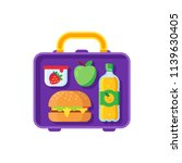 school lunch in open lunchbox.... | Shutterstock .eps vector #1139630405