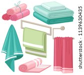 cartoon stack of bath towels.... | Shutterstock .eps vector #1139630435