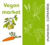vegan farmer market card with... | Shutterstock .eps vector #1139643836