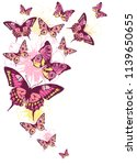 pink butterfly on a white | Shutterstock .eps vector #1139650655