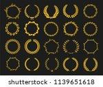 golden vector laurel wreaths on ... | Shutterstock .eps vector #1139651618
