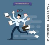 businessman run with many hands ... | Shutterstock .eps vector #1139657912
