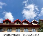 house with red roof mansard | Shutterstock . vector #1139658515