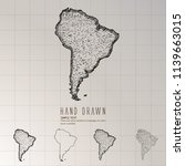 hand drawn south america map. | Shutterstock .eps vector #1139663015
